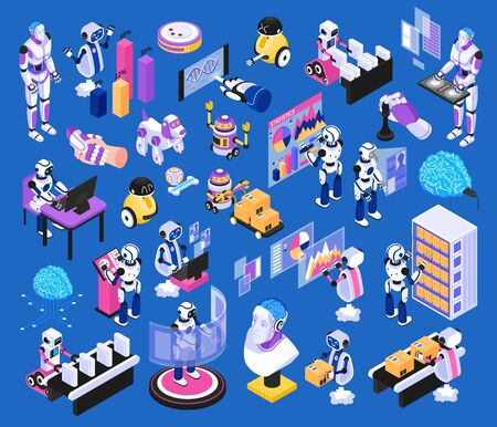 Artificial intelligence isometric elements big set with robotic pets assembly line humanoids technology blue background vector illustration
