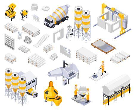 Colección de iconos isométricos de producción de cemento concreto con imágenes aisladas de mercancías, instalaciones industriales, personajes de trabajadores, ilustración vectorial