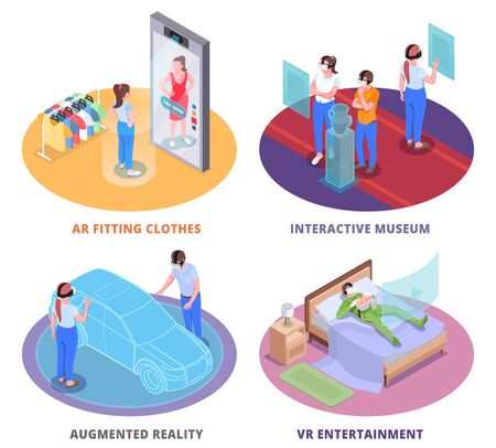 Virtual augmented reality 4 round isometric compositions with ar clothes fitting room interactive museum  entertainment vector illustration Illustration