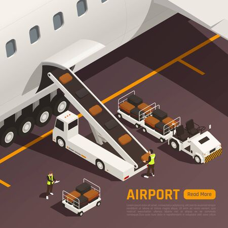 Airport isometric background with editable text and outdoor composition of conveyor truck loading bags to aircraft vector illustration 일러스트