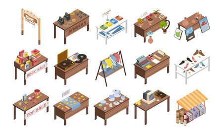 Set of isolated flea market garage isometric images with wooden tables and stalls with various goods vector illustration