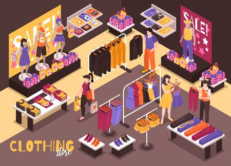 Clothing department store interior isometric composition with customers shopping assistant helps choosing fitting stylish garments vector illustration 일러스트