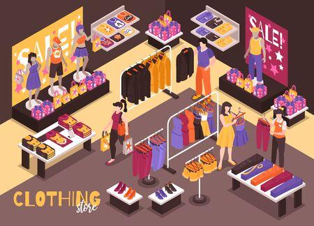 Die isometrische Zusammensetzung des Kleidungskaufhauses mit dem Einkaufsassistenten der Kunden hilft bei der Auswahl der passenden stilvollen Kleidungsstücke