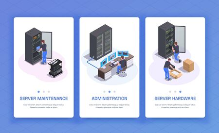 Datacenter administration hardware equipment server maintenance communication services 3 isometric vertical banners blue background isolated vector illustration