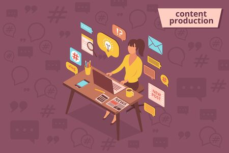 Blog content composition with isometric images of female character at working table surrounded by pictogram icons vector illustration