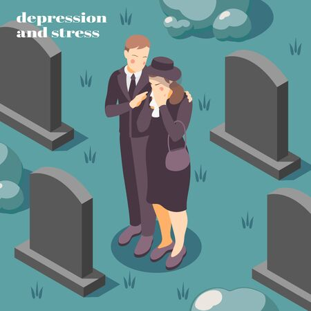 Mental health depression stress isometric composition on coping with grief loss death of loved one vector illustration