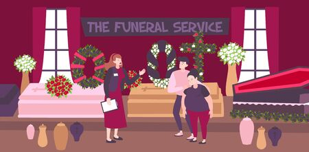 Funeral service banner with employee and sad family choosing coffin and funeral wreaths in agency interior flat vector illustration