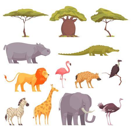 Safari dzikie zwierzęta ptaki drzewa płaskie ikony kolekcja z baobabu akacja krokodyl zebra flamingo lew ilustracji wektorowych