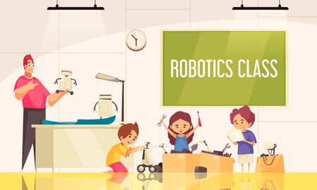 Robotics class background with little children children creating  robotic toys under guidance of teacher vector illustration Banque d'images - 134171260