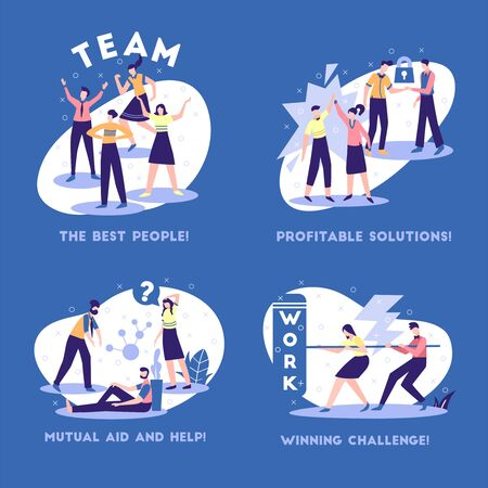 Business partnership principles advantages  concept 4 flat composition with support cooperation profitable solutions blue background vector illustration