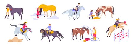 Isolated horse flat icon set with different types of horses sports and riders vector illustration