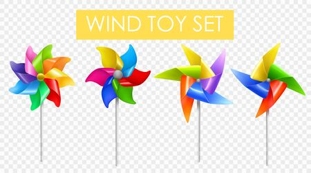 Realistic wind mill toy transparent set realistic with different number of blades vector illustration