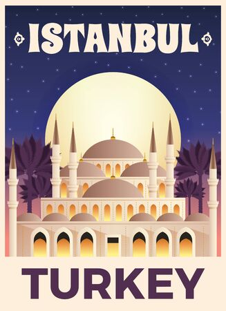 Turkey travel tourist top attractions flat poster with famous istanbul mosque minarets palms starry sky vector illustration