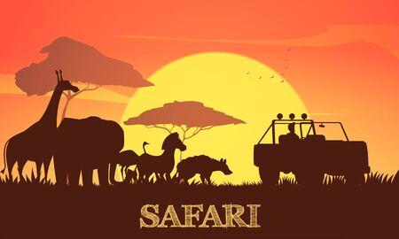 Schönes afrikanisches Sonnenuntergangsafari-Hintergrundplakat mit Giraffen-Elefanten-Zebra-Akazienbäumen und Jeep-Silhouetten-Vektorillustration