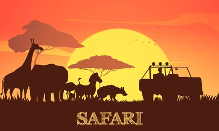 Beautiful african sunset safari background poster with giraffe elephant zebra acacia trees and jeep silhouettes vector illustration