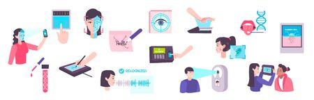 Biometric technologies flat icons set of eye voice fingerprint dna identification isolated vector illustration