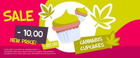Horizontal and colored cannabis sale banner with green flat cannabis cupcake sale description vector illustration