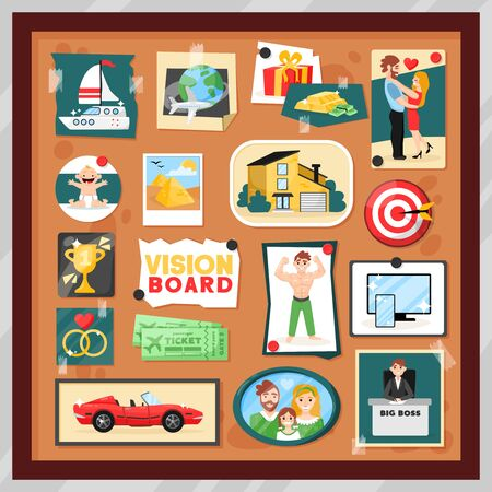 Dreams vision board composition with set of pinned cartoon style photos and images inside square frame vector illustration