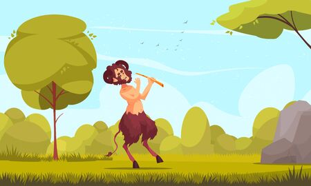 Greek mythological creatures cartoon composition with young satyr centaur nature spirit playing flute in grassy meadow vector illustration Illustration