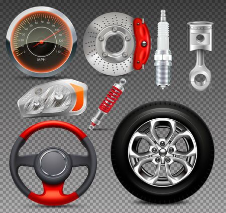 Car parts big set of isolated realistic images on transparent background with shadows and engine elements vector illustration