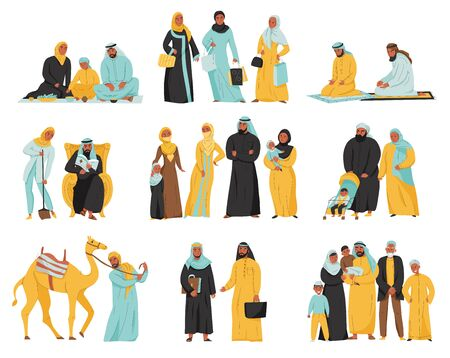 Arabs family icon set with different people and family children parents and animals vector illustration