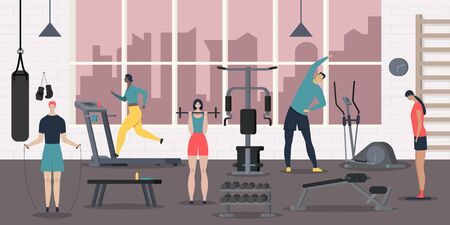 Sport club people composition with view of fitness hall with sports equipment and flat human characters vector illustration 向量圖像