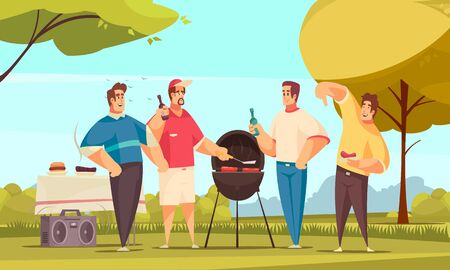 Bbq friends composition with outdoor scenery and doodle style characters group of four friends eating barbecue vector illustration Иллюстрация