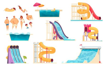 Aqua park family holiday pleasure relaxation attractions colorful comics set water slide bath isolated vector illustration