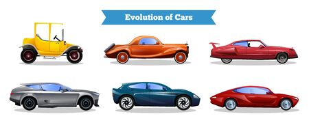 Evolution of cars set with colorful vintage and modern automobiles isolated on white background flat vector illustration
