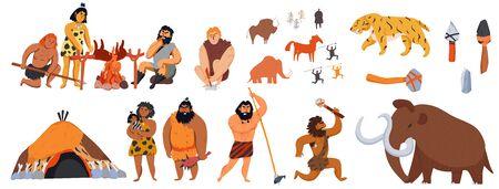 Il grande insieme delle icone del fumetto con le armi degli animali degli uomini delle caverne ha isolato l'illustrazione di vettore Vettoriali