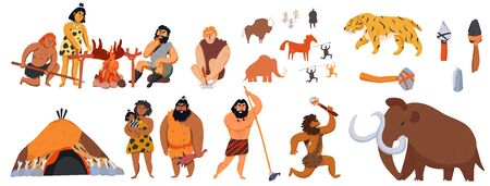 Big set of cartoon icons with cavemen animals weapons isolated vector illustration