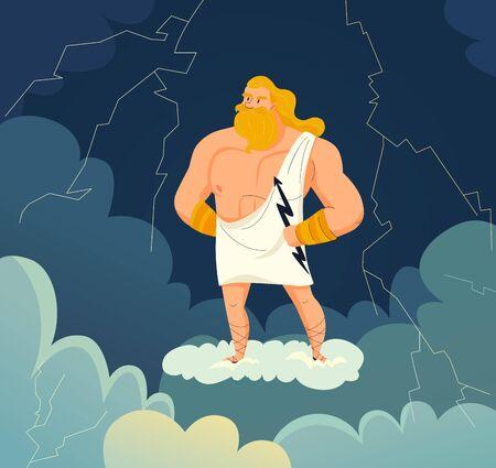 Greek god of sky and thunder zeus holding lightning cartoon vector illustration