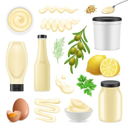 Realistic set with bottles bowls and packages of mayonnaise and ingredients for making sauce isolated on white background vector illustration