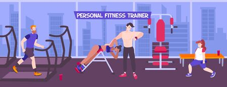 Personal coach sport background with indoor view of fitness hall with panoramic windows cityscape and people vector illustration