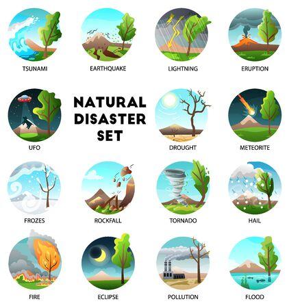 Colección de desastres naturales de composiciones redondas con leyendas de texto y fuerzas de la naturaleza en paisajes al aire libre ilustración vectorial