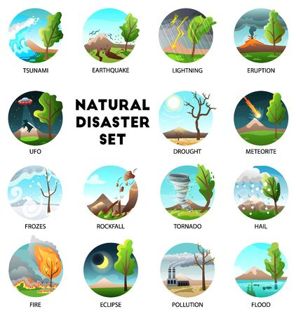 Natural disaster collection of round compositions with text captions and forces of nature in outdoor landscapes vector illustration Illustration