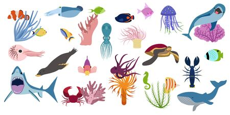 Underwater set with isolated flat cartoon style images of deep-sea fishes shellfish turtles and jellyfishes vector illustration