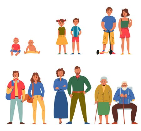 Flat icons set with different generations of people isolated on white background vector illustration