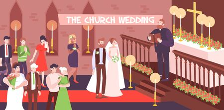 Wedding religious ceremony in church with couple getting married and priest at altar vector illustration