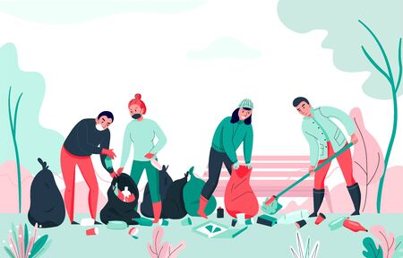 Pollution background with group of people collecting garbage flat vector illustration