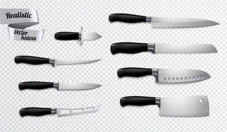 Kitchen butchers knives set closeup realistic image with boning slicer carver chef cleaver transparent background vector illustration