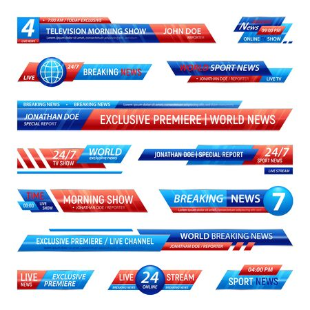 Breaking news television channel broadcasting set of isolated solid plates for vfx bars with editable text vector illustration