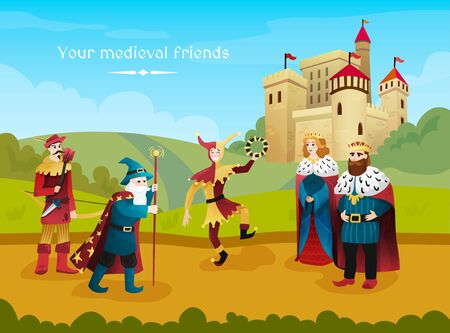 Medieval kingdom flat composition with royal couple jester magician archer outdoor with castle on background vector illustration