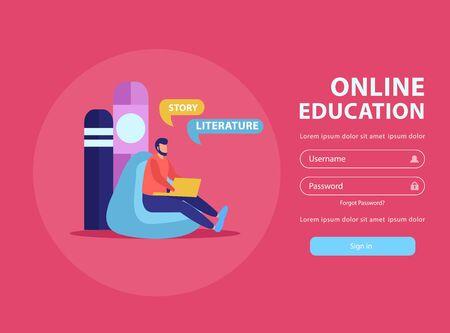 Pagina di accesso del sito Web di sfondo piatto per l'istruzione online con immagini di doodle testo modificabile e illustrazione vettoriale del pulsante cliccabile Vettoriali