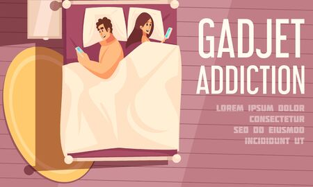 Gadget addiction poster with young couple lying in bed turning away from each other and looking in mobile phones vector illustration