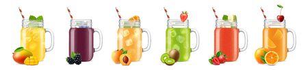 Conjunto de imágenes de frascos realistas aislados con rodajas de fruta de cócteles batidos y pajitas en la ilustración de vector de fondo en blanco