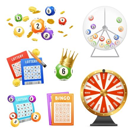 Lottery machine tickets balls realistic icons set isolated on white background vector illustration