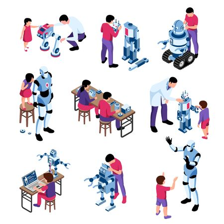 Set of isolated isometric robotics kids education icons with compositions of android robots children and adults vector illustration