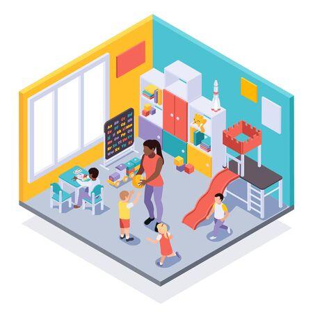 Vue isométrique intérieure de l'environnement d'apprentissage ludique en classe de maternelle avec des enfants se déplaçant en jouant avec l'illustration vectorielle de l'enseignant