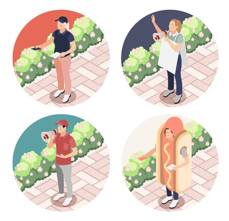 Street promoter 2x2 design concept set of people with loudspeaker advertising placards and flyers isometric vector illustration